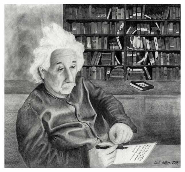 Einstein pondering the Theory of Everything.