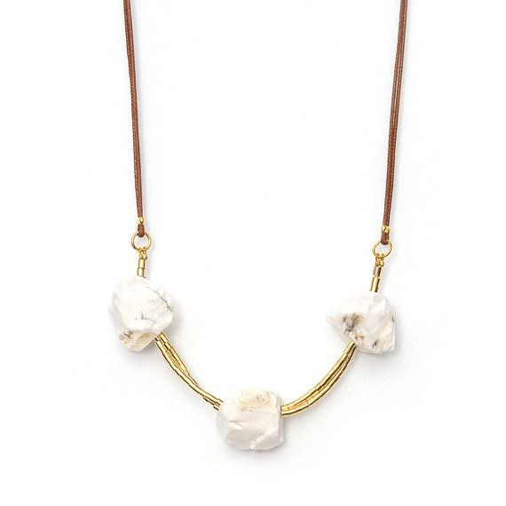 Cord necklace with natural white opal  unique by CombaDesigns