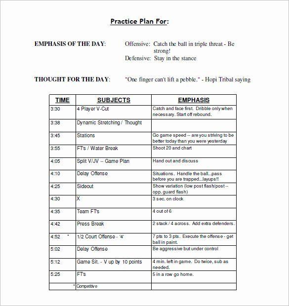 Youth Football Practice Schedule Template New 13 Practice Schedule