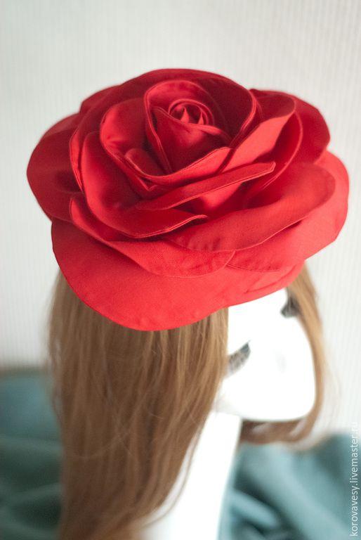 """Купить Шляпка-цветок """"Английская роза"""" - ярко-красный, шляпка, роза, красная роза"""