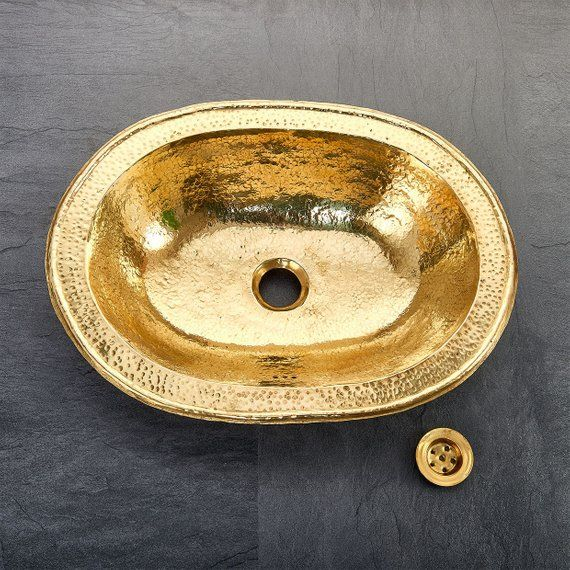 Moroccan Hand Beaten Oval Brass Bathroom Sink Basin With