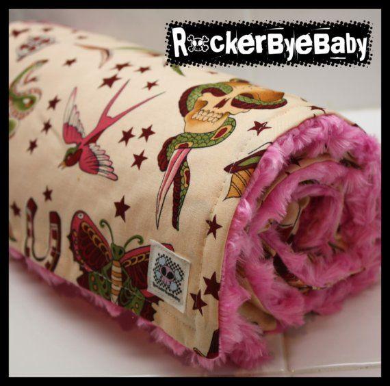 Punk baby girls or toddler blanket Pale Pink by RockerByeBaby, $36.00
