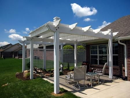 Pergola Over Patio for Sun Shade; Attached Screens for ...