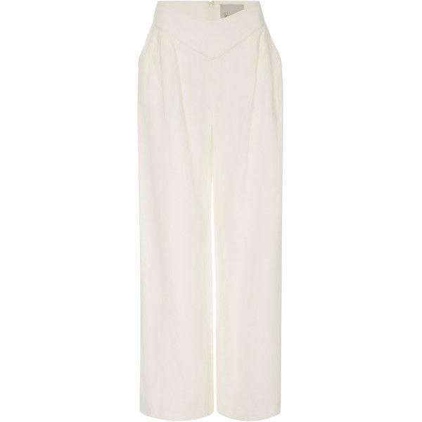 Johanna Ortiz Inés De La Cruz Linen Pant (1.990 BRL) ❤ liked on Polyvore featuring pants, linen trousers, wide leg linen pants, mid rise pants, wide leg linen trousers and linen pants