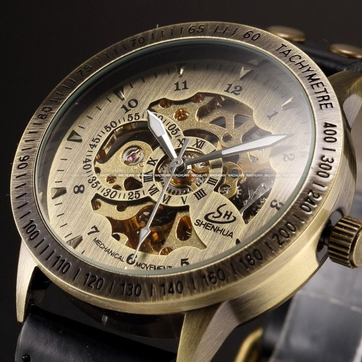 Vintage Bronze Men Wristwatch Skeleton Clock Male Leather Strap Antique Steampunk Casual Automatic Skeleton Mechanical Watches Alternative Measures
