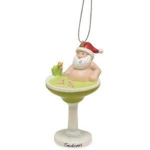Santa In Margarita Cocktail Christmas Ornament