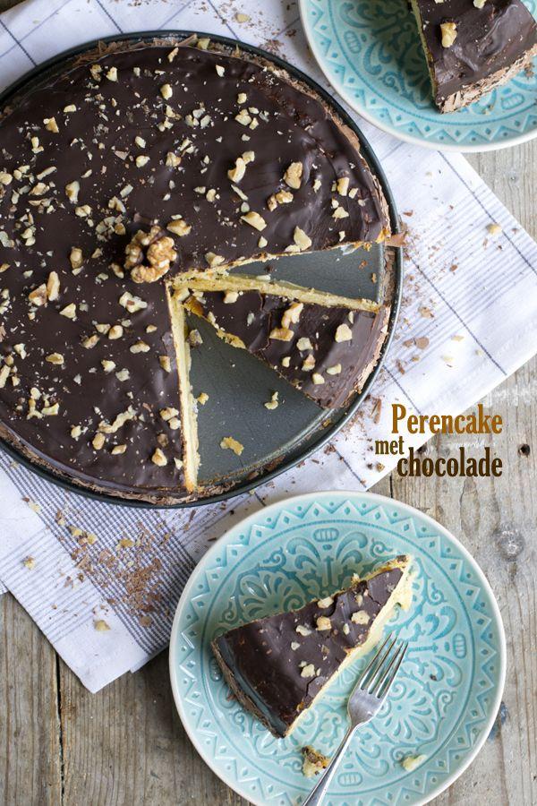 Perencake met chocolade | via BrendaKookt.nl