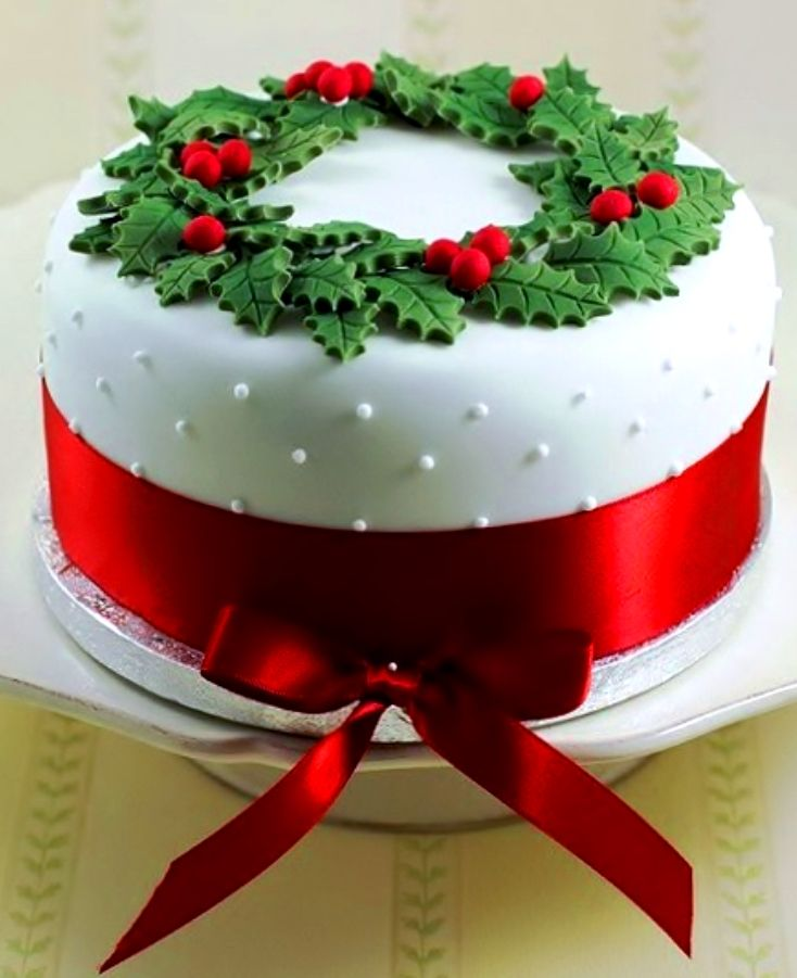Christmas cake white Swiss dot fondant holly red satin ...