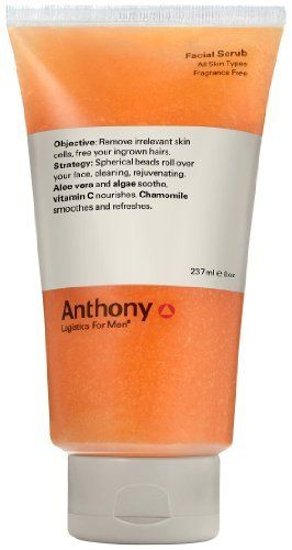 Anthony Logistics for Men Facial Scrub, 8 Ounce by Anthony Logistics for Men. $30.00. Prevents ingrown hairs. Helps increase elasticity. Exfoliates. Fragrance free. All skin types. A gentle, micro-sloughing cleanser with spherical beads that roll over the skin and remove dead skin cells. Exfoliates and prepares the skin for a close, smooth shave. Helps prevent ingrown hairs and razor bumps.