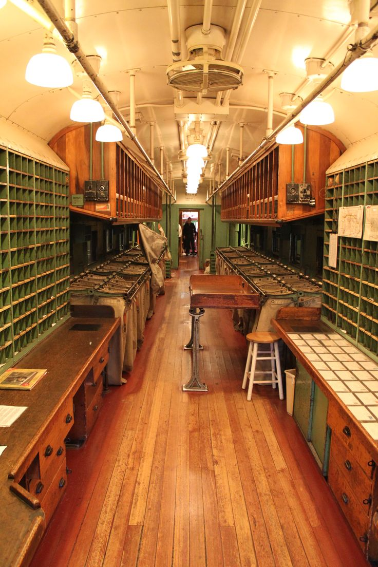 """Wow, what an amazing space! Excerpt (Wiki): """"Interior of Great Northern Railway Post Office Car 42 at the California State Railroad Museum"""""""