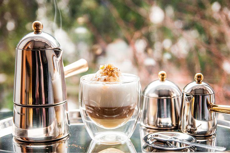 step 4. R E A D Y  Carmencita Lavazza (stovetop, sugar bowl, creamer, tray) + bodum glass