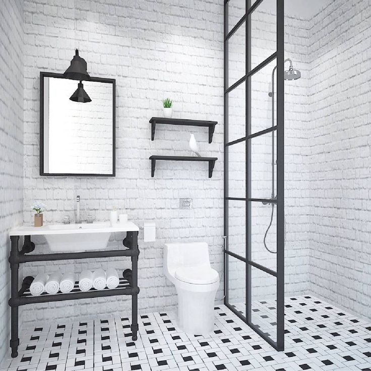 "33 curtidas, 3 comentários - Maevy Project (@maevyproject) no Instagram: ""Black and white industrial chic bathroom at Mrs. A's residence 🛁  #interiordesign…"""