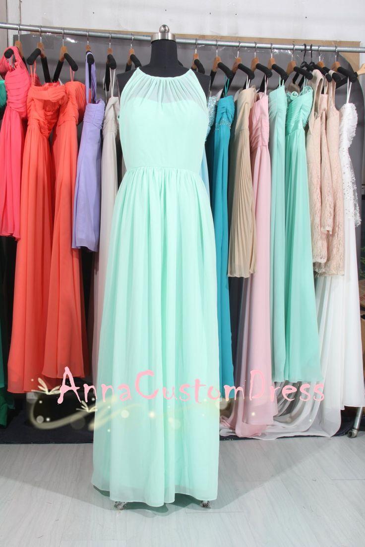 Scoop Long Mint Chiffon Bridesmaid Dress