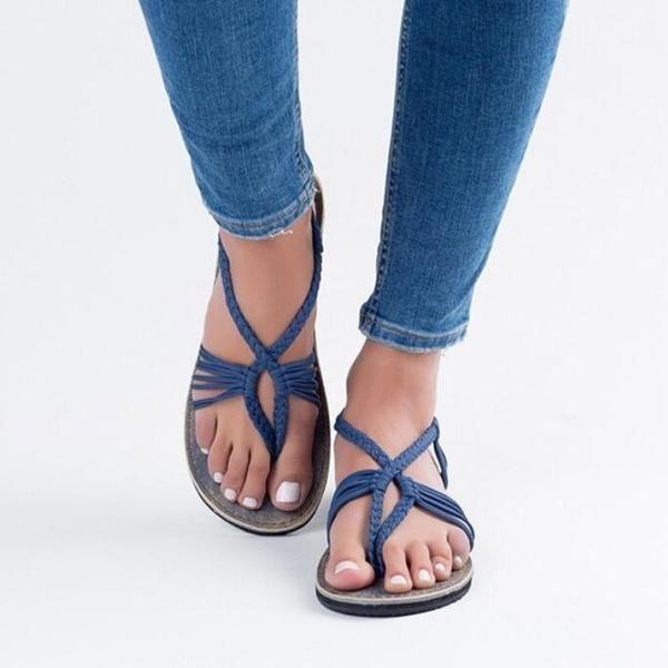 Weave Strings Slip-on Flat Women Beach Sandals #women'ssliponbeachsandals