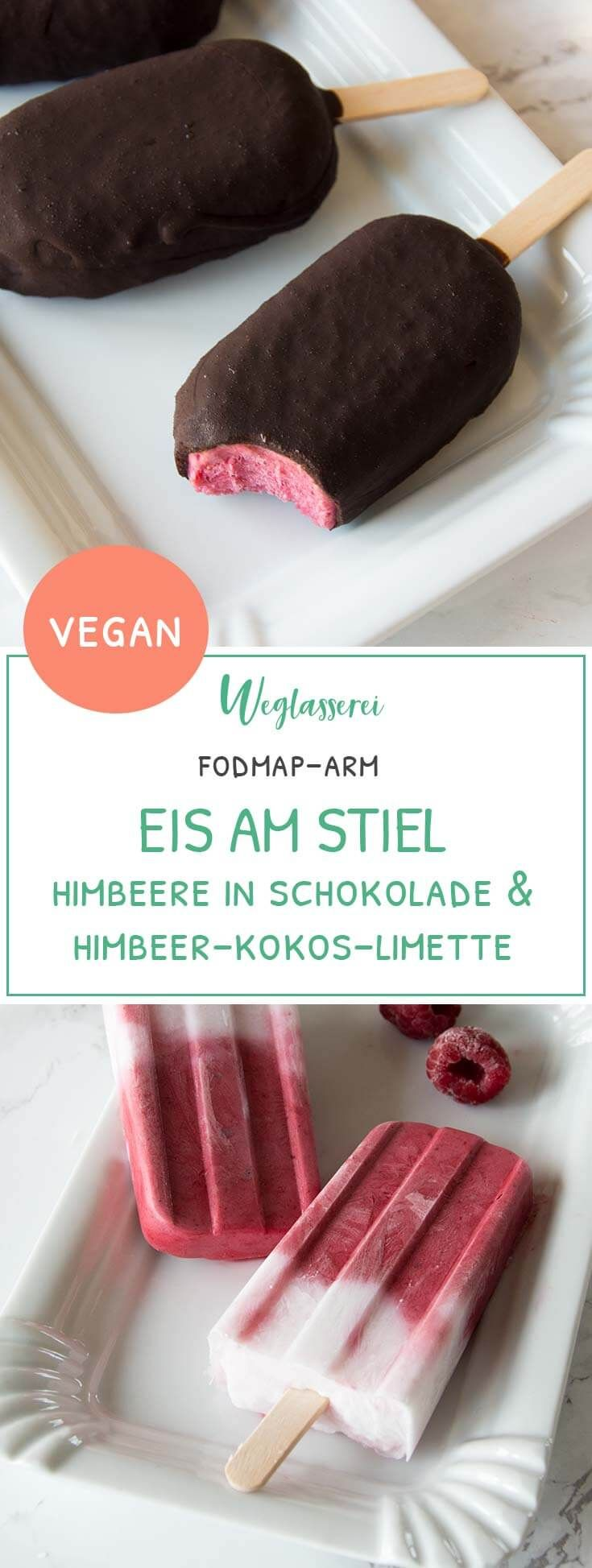 Gesundes Eis am Stiel bei Lebensmittelunverträglichkeiten und Reizdarm. Kokos-Himbeer-Limette oder Himbeere in Schokolade. Beide Varianten sind FODMAP-arm, laktosefrei, glutenfrei, fructosearm, vegan, ohne Milch und ohne Ei. Noch mehr FODMAP-arme Rezepte findest du auf meinem Blog www.weglasserei.de Dort findest du außerdem Tipps und Motivation, um deine Nahrungsmittelunverträglichkeiten und deinen Reizdarm in den Griffe zu bekommen. Ich zeige dir, wie du die Ernährungsumstellung angehst…