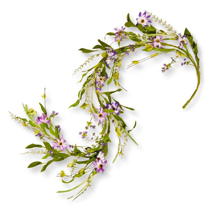 Artificial Spring Purple Flower Garland Green 5 Ft. - National Tree Company
