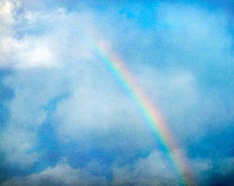 Rainbow Photography, Fine Art Print, Nature Landscape, Nursery Wall Art, Clouds, Paint Textures, Blue Skies, Travel Hawaii,  Rainbow Art