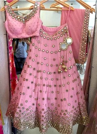 Pink Embroidery Mirror Work Lace Border Silk Wedding Party Wear Lehenga Choli http://www.angelnx.com/bestseller