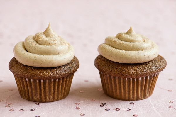 Gingerbread cupcakes with cinnamon cream cheese frosting. I'll take ...