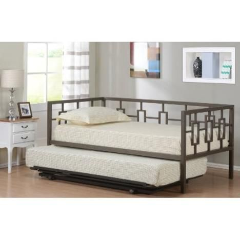 Kings Brand Furniture Brown Metal Twin Size Miami Day Bed Daybed Frame With Metal Slats Pop