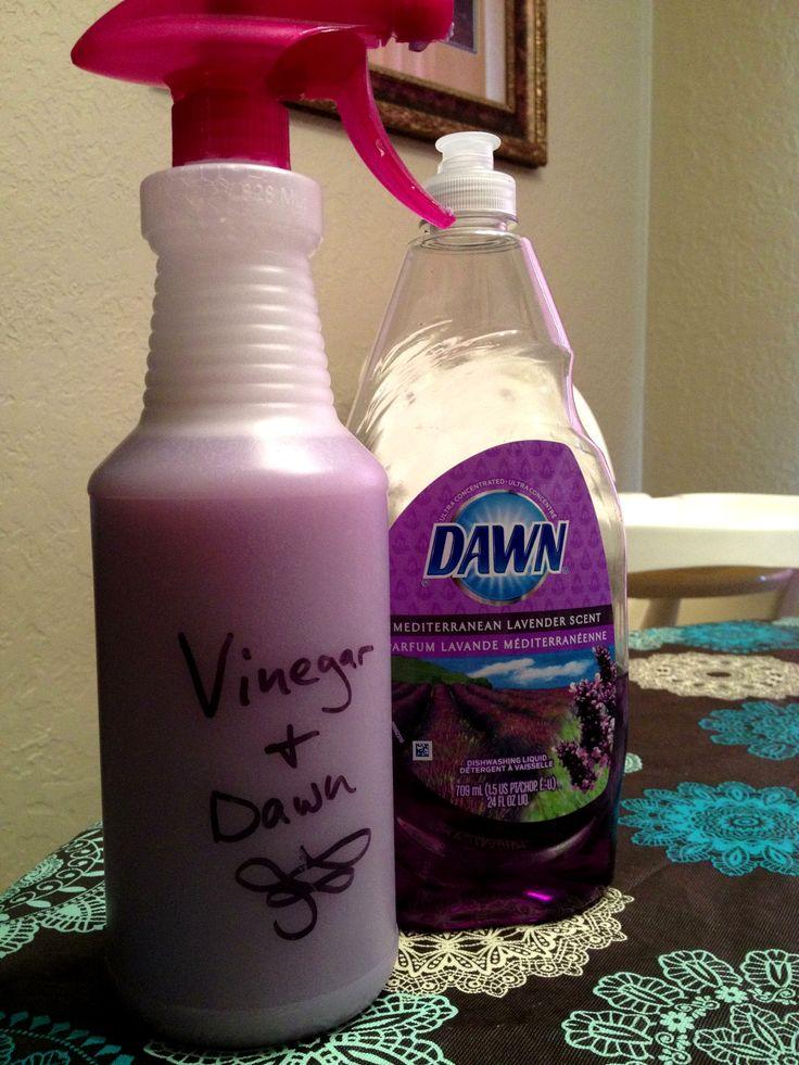 Lavender Dawn and Vinegar Spray: 1part Mediterranean Lavender Dawn, 1 part vinegar.  Smells heavenly!