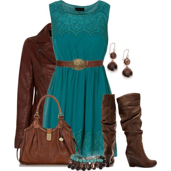 Aqua & Brown, created by colierollers on Polyvore