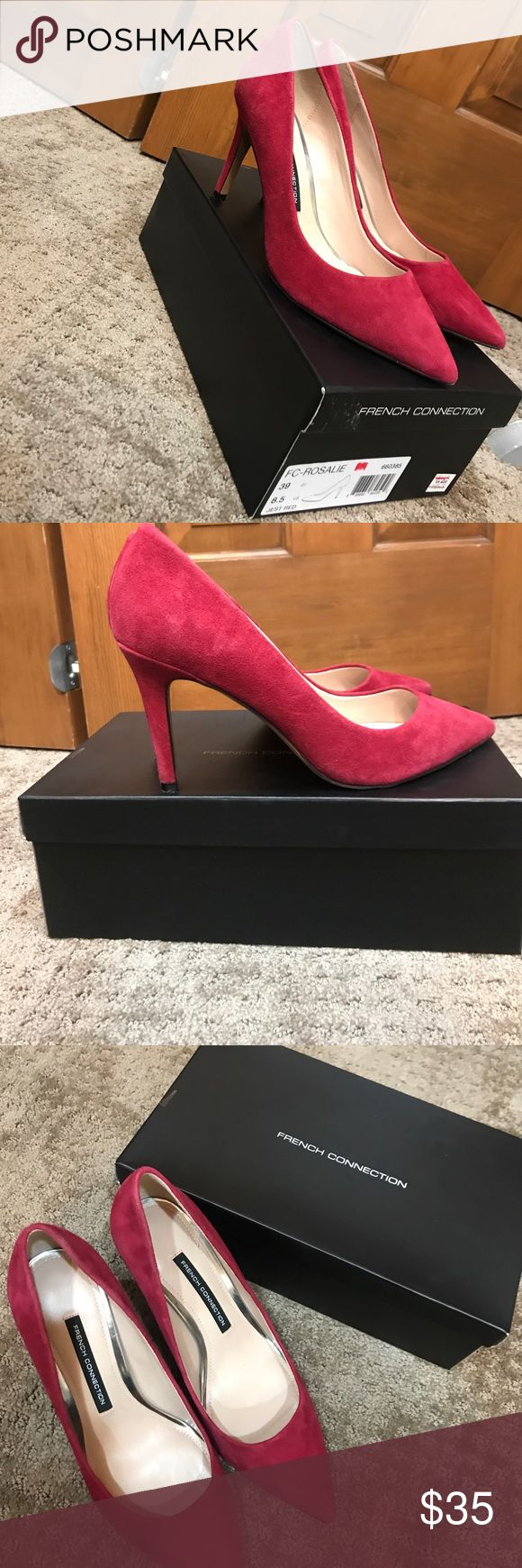 French Connection suede red pumps Sz 8.5 (39) Red Heels (ONLY WORN ONCE!!!) French Connection Shoes Heels
