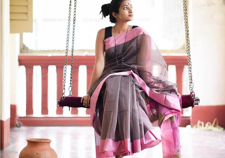 Cotton Sarees - Grey With Pink And Jute By Suta - PC - 15731 - Main