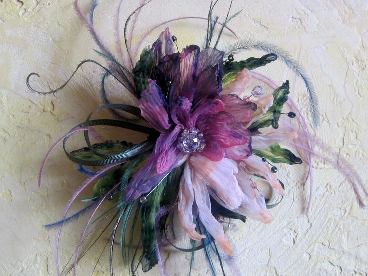 Designer Hat, handmade, hand-dyed Adorned with flower brooch that can be worn separately.This unique accessory is a hand-dyed flower brooch. It can be worn either on a headband, either as a decoration on your dress. Handmade flowers by AlinaYo keep the shape, they don't crumple and are not afraid of water. They can be washed. Feathers and beads can be used, as well as Swarovski crystals.  The exquisite flower design will always have a feminine touch of warmth beauty.
