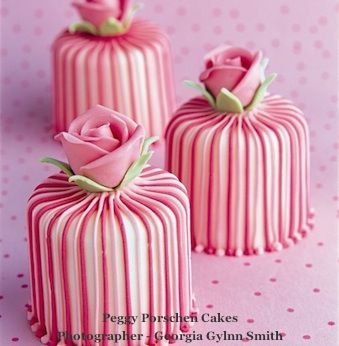 Individual pink stripy wedding cakes from peggy porschen