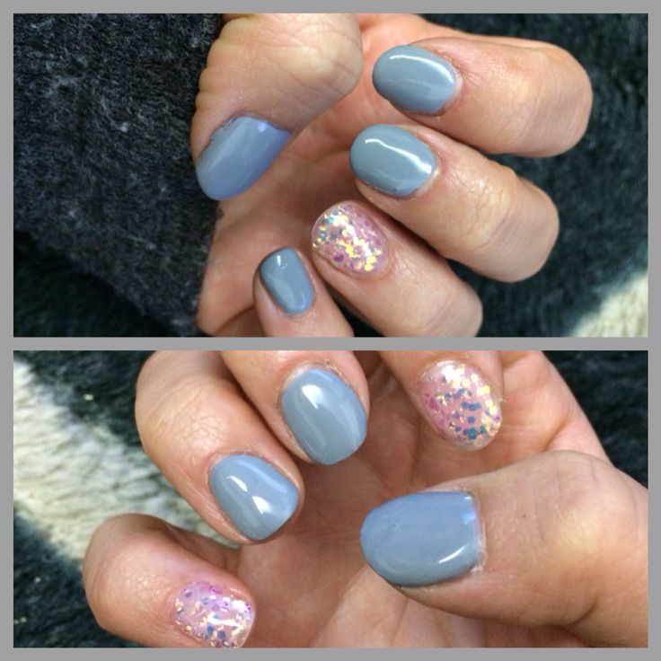 Gray and sparkle nail! Simple and nice!