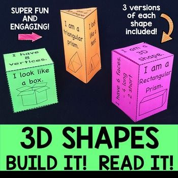 3D Shapes- Build It, Read It! 3D Shapes have never been so much fun! Students cut, fold and tape/paste the shape nets to create 3D shapes. On the sides of the shapes are examples of the 3D shape, the number of sides, vertices and edges as well as other information. New to this pack are 3D shape nets that create real life examples of each shape and blank 3D shape nets.