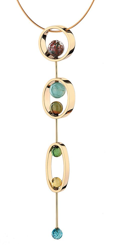 I love jewelry that suggests rhythm.   -Yael Sonia. Natural Encounters. Pendant. 18K yellow gold, quartz, green tourmaline, aqua-marine, lemon quartz. Based on the colors of the seasons in Sao Paolo.