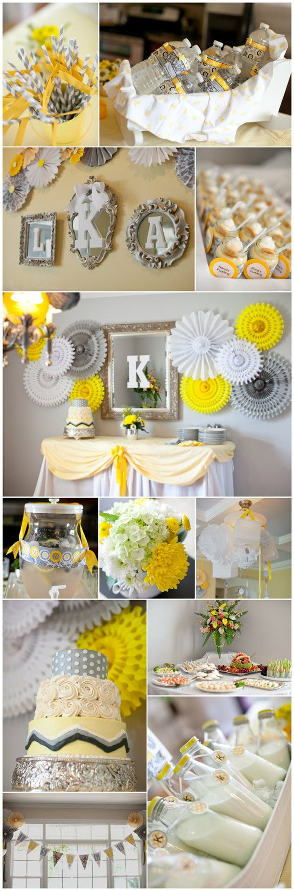 gray and yellow baby shower...switch yellow with mint green