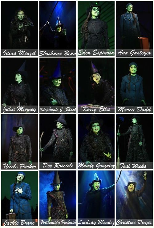 Broadway's 16 Elphabas. Love Idina Menzel (of course!), Stephanie J. Block,  Lindsay Mendez