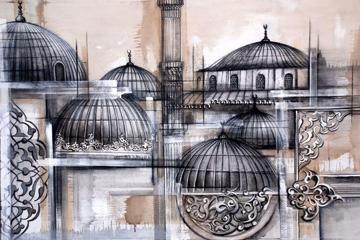 İREM İNCEDAYI - İstanbul - Karışık teknik, 110x170cm, 2017 - Batı'nın İzdüşümleri: İstanbul