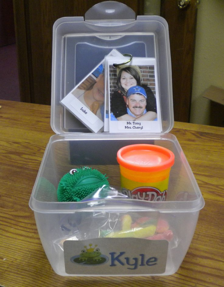 Transition box to help ease anxiety when there are changes in activities or class. Students get 5 minutes when they make the transition with their box. Included in the box is Laminated & labeled photos of all participating students & teachers our children's church (kept on a ring)  Kyle's favorite candy (sour gummy worms)  A sensory toy associated with something Kyle loves (Frogs).  Play-dough