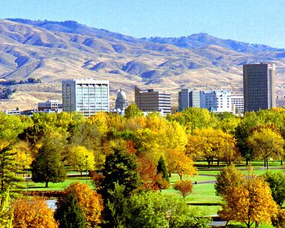 Boise, ID. Love visiting this picturesque city snuggled at the base of the mountains.