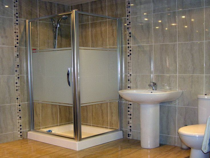 Bathroom, Corner Shower Applying Frosted Glass Door Combine With Artistic Tiles Pattern Also White Free Standing Sink: Tile Patterns for Beautiful Shower Design