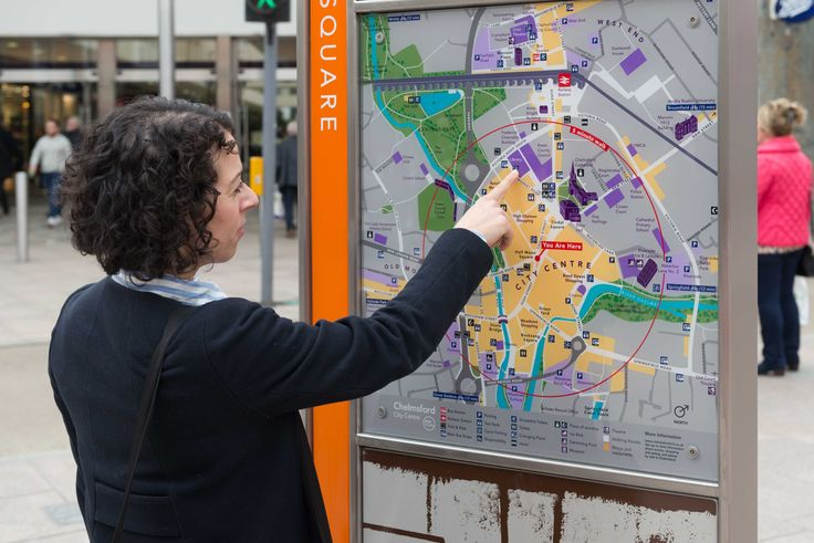 Chelmsford wayfinding system is designed to reinforce the identity of the city, highlighting landmarks and local character. #mapping #design