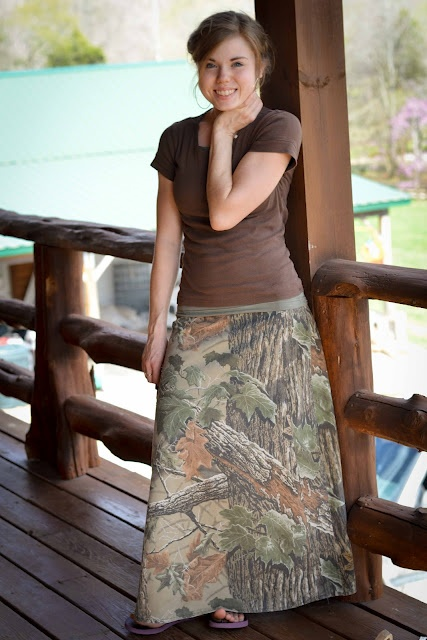 Looks like I'm not the only girl who loves camo skirts!  What a fun outfit! freshmodesty.blogspot.com