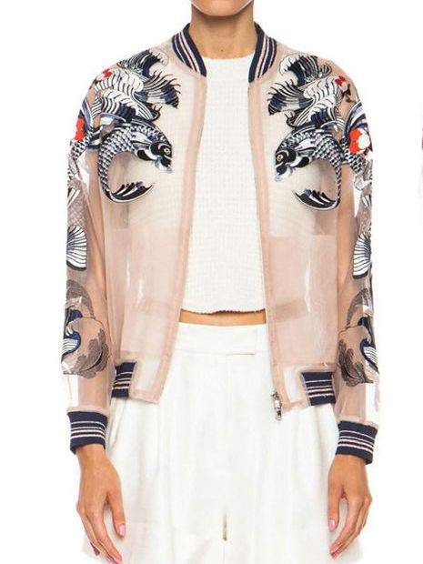 Apricot Long Sleeve Embroidered Organza Jacket 49.17