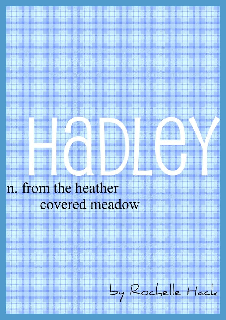Baby Girl or Boy Name: Hadley. Meaning: From the Heather Covered Meadow. Origin: British. http://www.pinterest.com/vintagedaydream/baby-names/