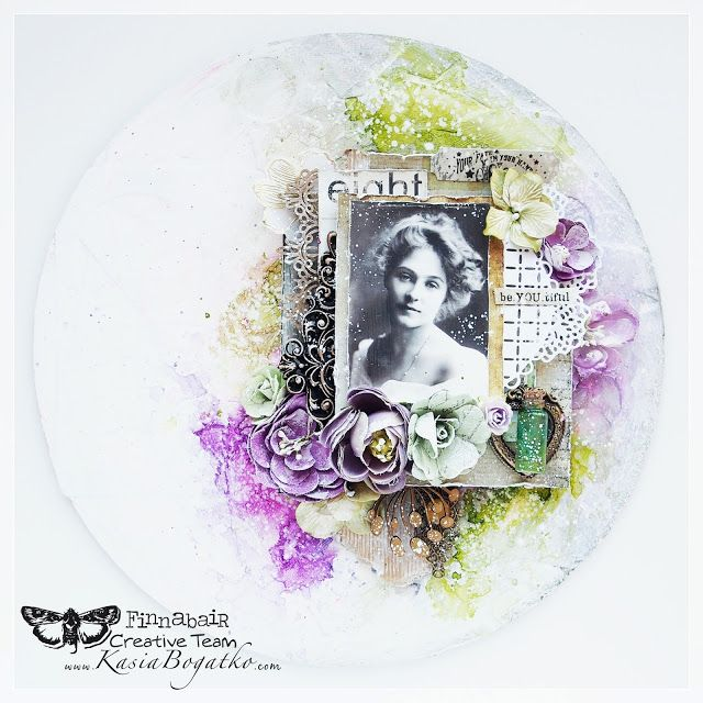 Vintage Beauty - mixed media canvas for Finnabair CT by Kasia Bogatko