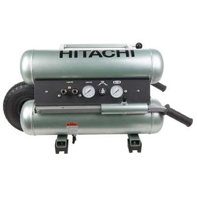 Hitachi 1.6-Hp 5-Gallon 145-PSI 120-Volt Twin Stack Stationary Gas or Electric Air Compressor