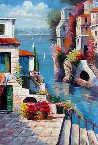 Mezzanine Oil Painting Art Painting  Mediterranean Sea oil painting