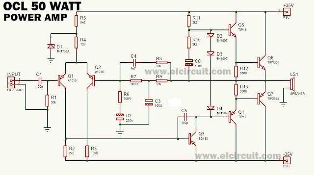 50 watt stereo amplifier power circuit diagram wiring diagram siteThe Main Amplifier 50 Watt Ocl By Lf351 2n3055 Mj2955 With Pcb #20