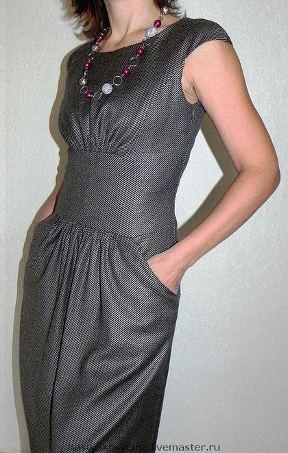 """Платье """"Серое со сборкой"""" - платье повседневное,модное платье,индивидуальный пошив"""