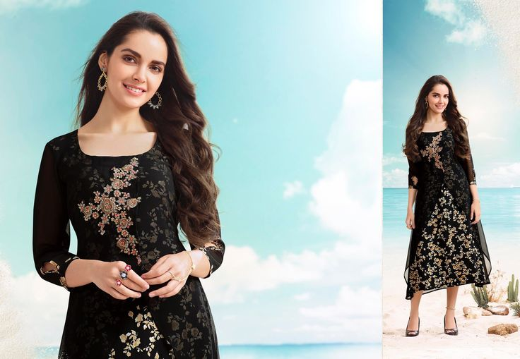 Black partywear georgette embroidery look kurti
