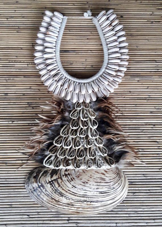 Asmat Tribal Ethnic Jewelry Shell Necklace Adornment Hand